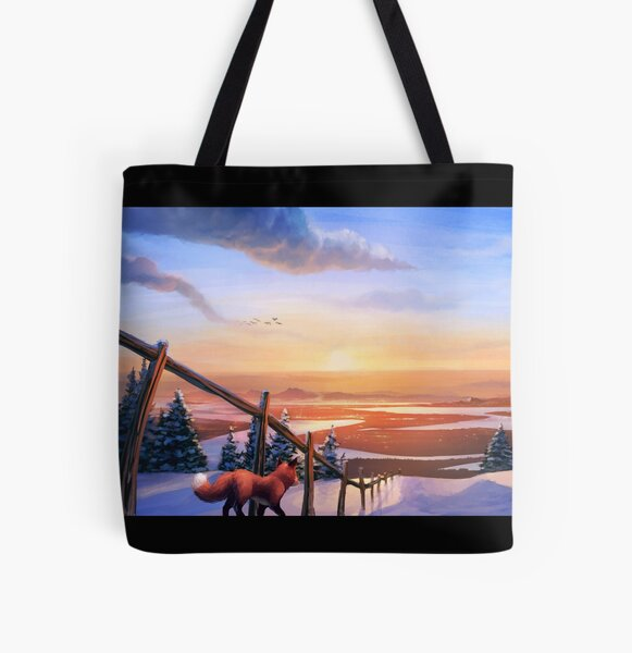 Red Fox's Wintry Sunrise All Over Print Tote Bag