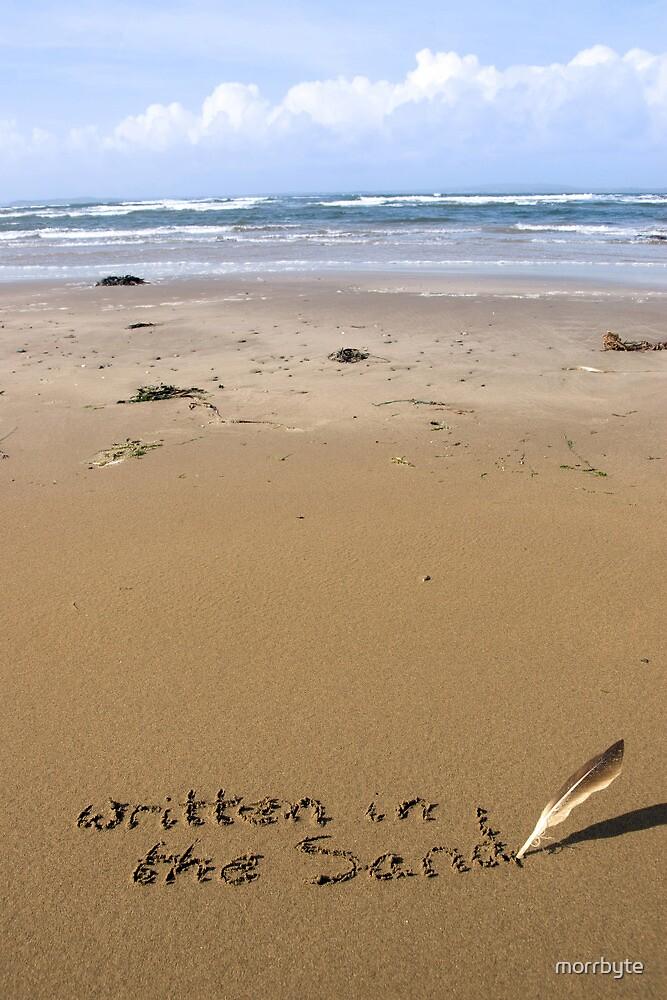 it's written in the sand on a beach by morrbyte