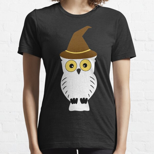 Cute snow white owl wearing hat Essential T-Shirt