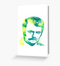 Ron Swanson Watercolor  Greeting Card