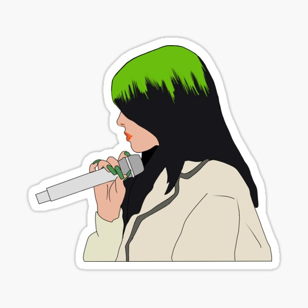 Billie Eilish Holding a Microphone Sticker