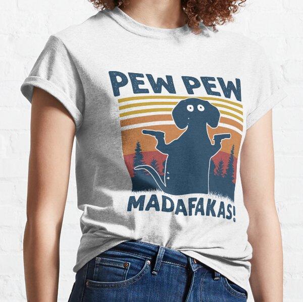 Vintage Retro Black Dog Pew Pew Madafakas! funny Dog pew pew madafakas Classic T-Shirt