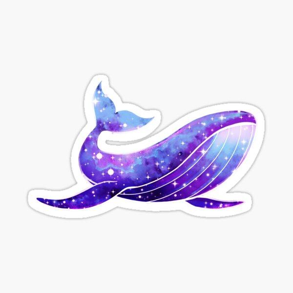 Purple Galaxy Space Whale Heart Sticker