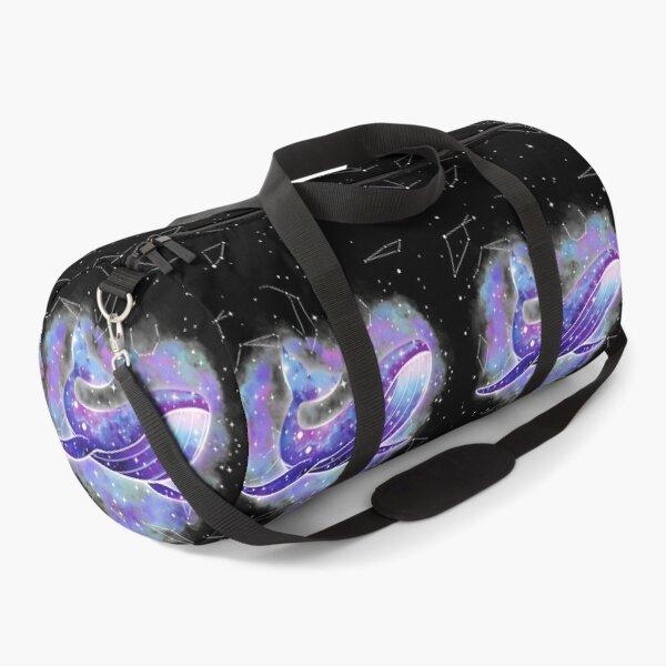 Purple Galaxy Space Whale Heart Duffle Bag
