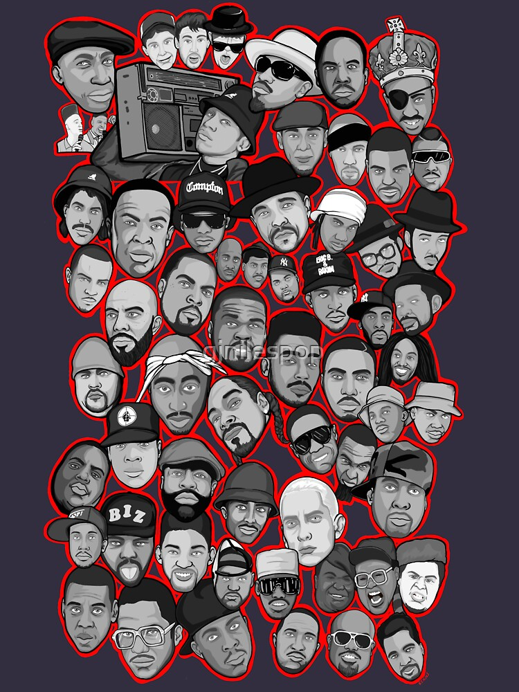 old school hip hop legends collage art by gjnilespop
