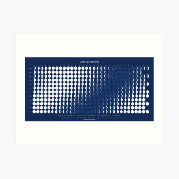 Lunar Calendar for 2020 Art Print