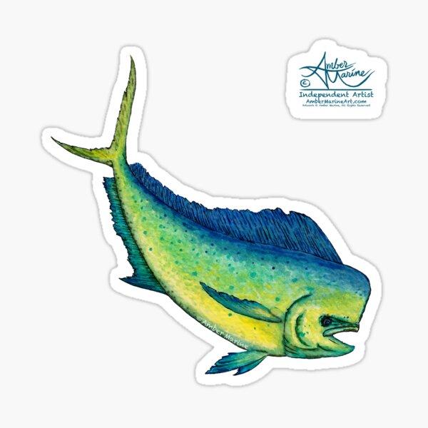 """Mahi Mahi Splash"" by Amber Marine ~ watercolor & ink dolphin fish / dorado painting, art © 2016 Sticker"