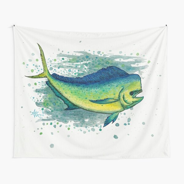 """Mahi Mahi Splash"" by Amber Marine ~ watercolor & ink dolphin fish / dorado painting, art © 2016 Tapestry"
