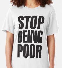 Camiseta ajustada Deja de ser pobre (Paris Hilton