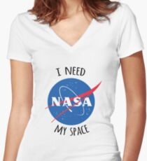 I Need My Space (NASA) Women's Fitted V-Neck T-Shirt