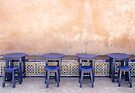 Four Blue Tables - Rabat Morocco by Debbie Pinard