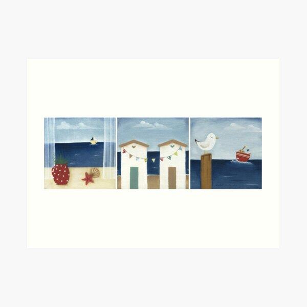 Costal Shabby - triptic Art Print