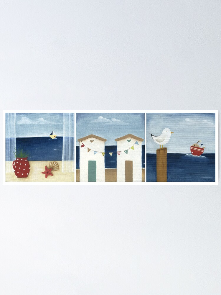 Alternate view of Costal Shabby - triptic Poster