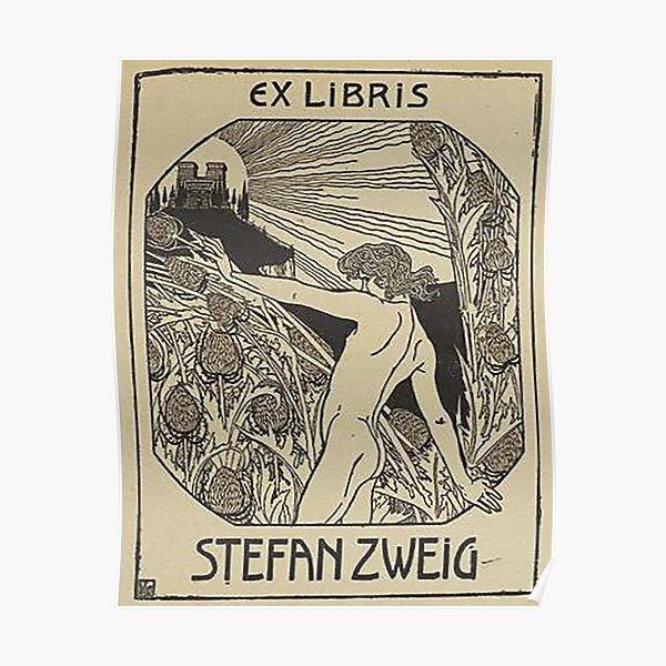 HD. Ex libris Stefan Zweig, Reading, by Ephraim Moshe Lilien Poster