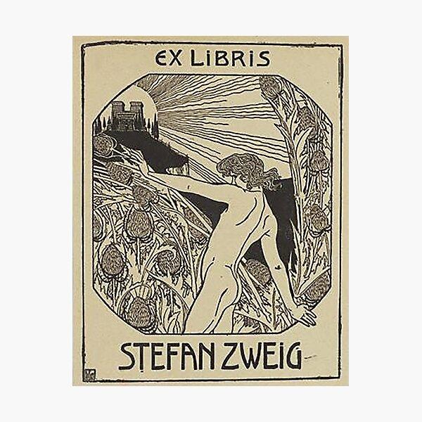 HD. Ex libris Stefan Zweig, Reading, by Ephraim Moshe Lilien Photographic Print