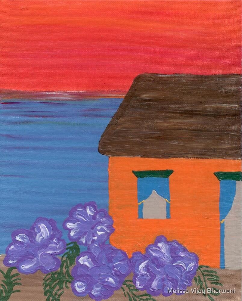 Beach House with Sunset by Melissa Vijay Bharwani