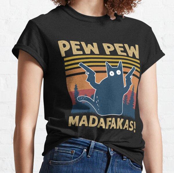 Vintage Retro Black Cat Pew Pew Madafakas! funny cat pew pew madafakas Classic T-Shirt