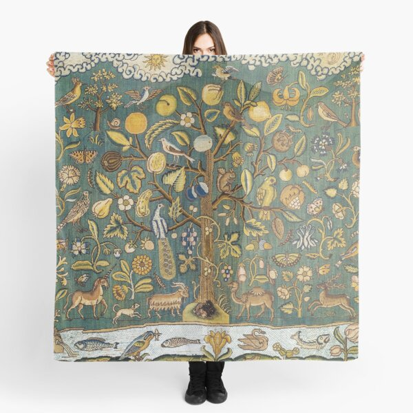 Ancient Animals & Tree Medieval Unicorn Floral Tapestry Scarf