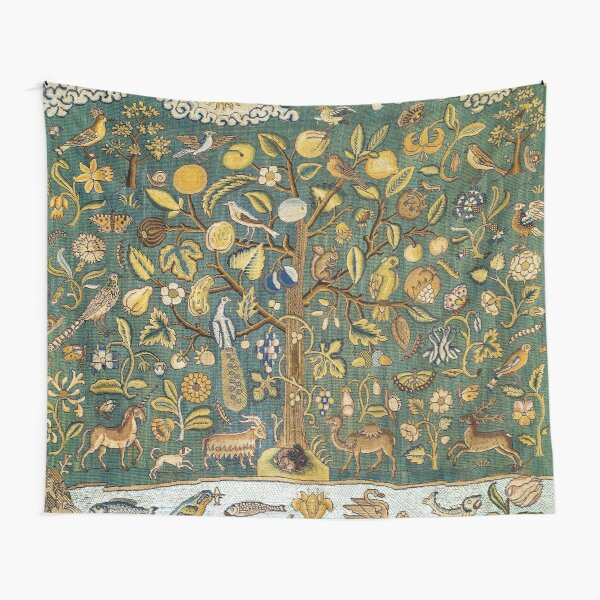 Ancient Animals & Tree Medieval Unicorn Floral Tapestry Tapestry