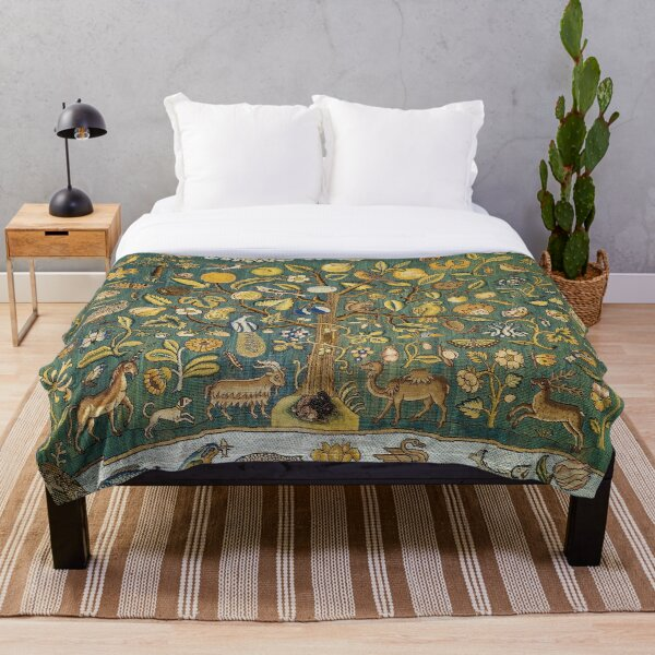 Ancient Animals & Tree Medieval Unicorn Floral Tapestry Throw Blanket