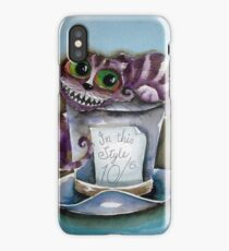 Cheshire Cat on a top hat iPhone Case/Skin
