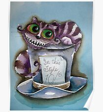 Cheshire Cat on a top hat Poster