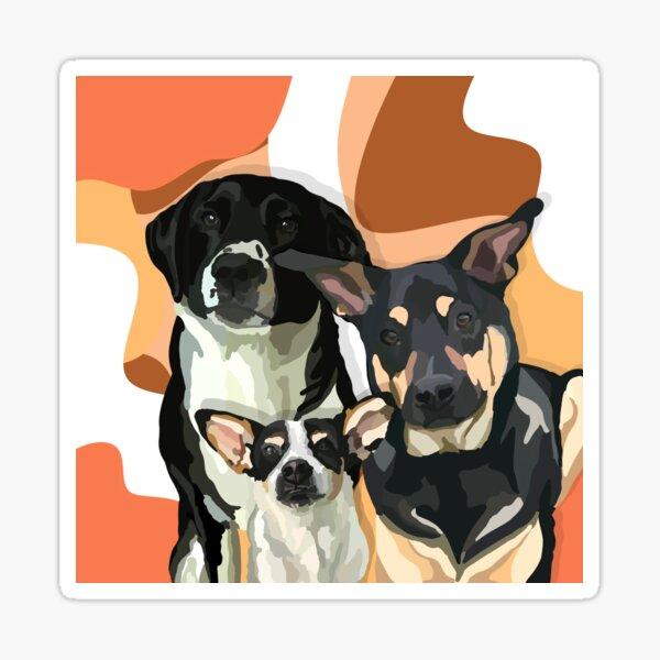 Henry, Harley and Rambler Portrait-desert tones Sticker