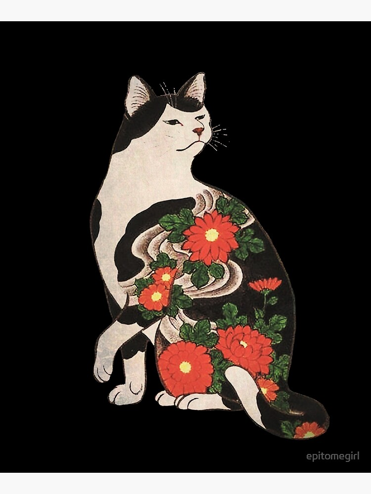 Antique Japanese Woodblock Print Cat with Flower Tattoos by epitomegirl
