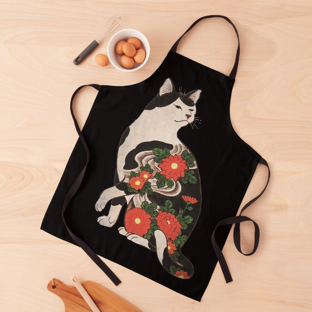 Antique Japanese Woodblock Print Cat with Flower Tattoos Apron