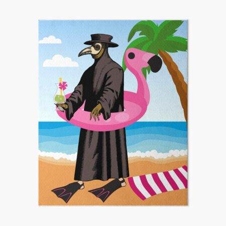 Plague Doctor at the Beach with Flamingo Floatie and Palm Tree Art Board Print