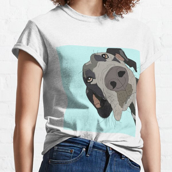 Great Dane In Your Face (teal) Classic T-Shirt