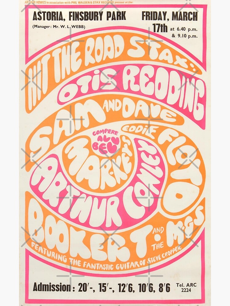 Otis Redding - Booker T And The MGs 1960s London Concert Poster Print. by TMcG-Prints