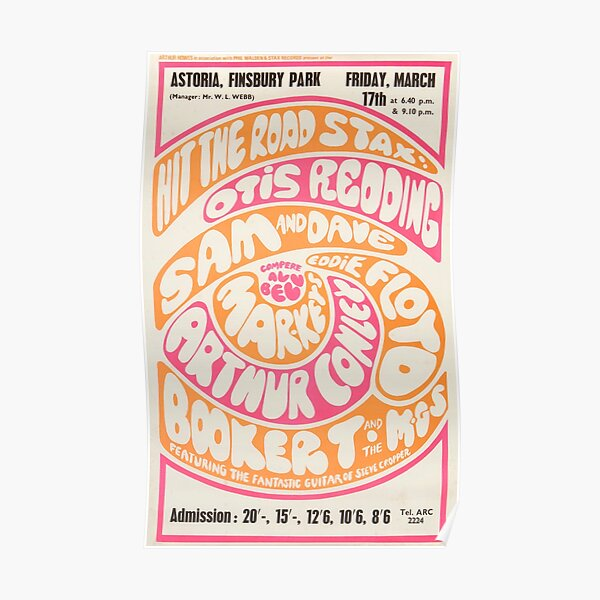 Otis Redding - Booker T And The MGs 1960s London Concert Poster Print. Poster
