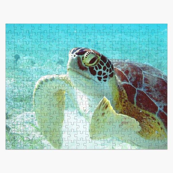 Watercolor Turtle, Green Turtle 19, St John, USVI Jigsaw Puzzle
