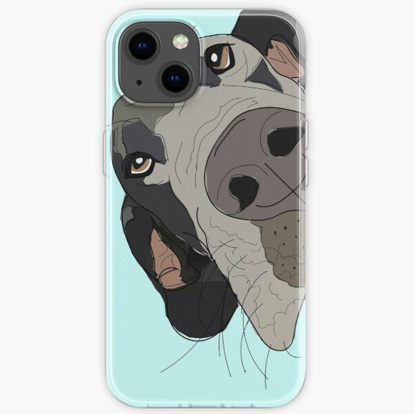 Great Dane In Your Face (teal) iPhone Soft Case