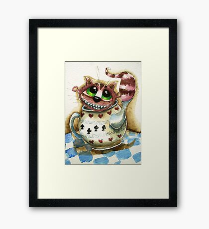 The Cheshire Cat - snuggly teapot Framed Print