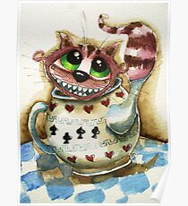 The Cheshire Cat - snuggly teapot Poster