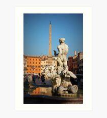 Fontana del Moro, Piazza Navona, Roma, Italia Art Print