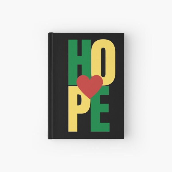 An expression of Hope with heart - Red, Green, Yellow Hardcover Journal
