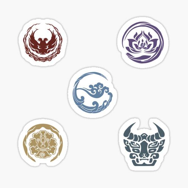 MDZS CQL Jiang, Lan, Wen, Nie, Jin Conjunto de símbolos de la secta Pegatina