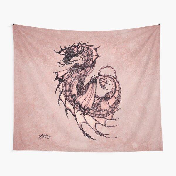 """Tsunami"" Sea Dragon, art by Amber Marine ~ (Coral Version) ~ Graphite Illustration (Copyright 2005) Tapestry"