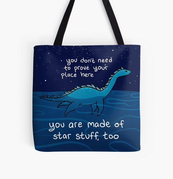"""""""You are Made of Star Stuff, Too"""" Plesiosaur Nessie All Over Print Tote Bag"""
