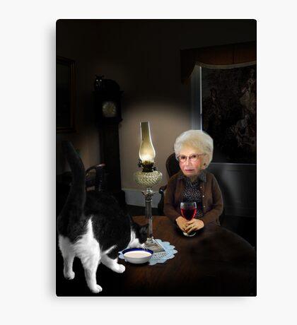 granny by lamplight Canvas Print
