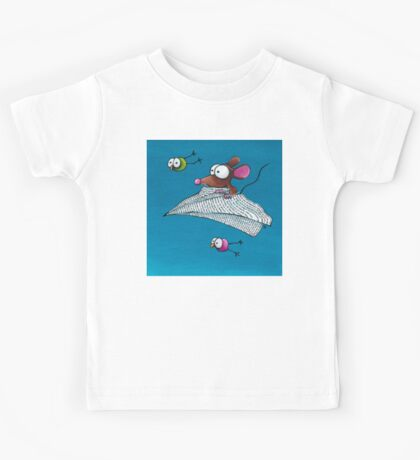 Mouse in a paper aeroplane Kids Clothes