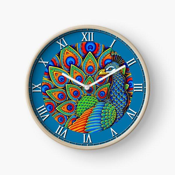 Colorful Paisley Peacock Rainbow Bird Clock