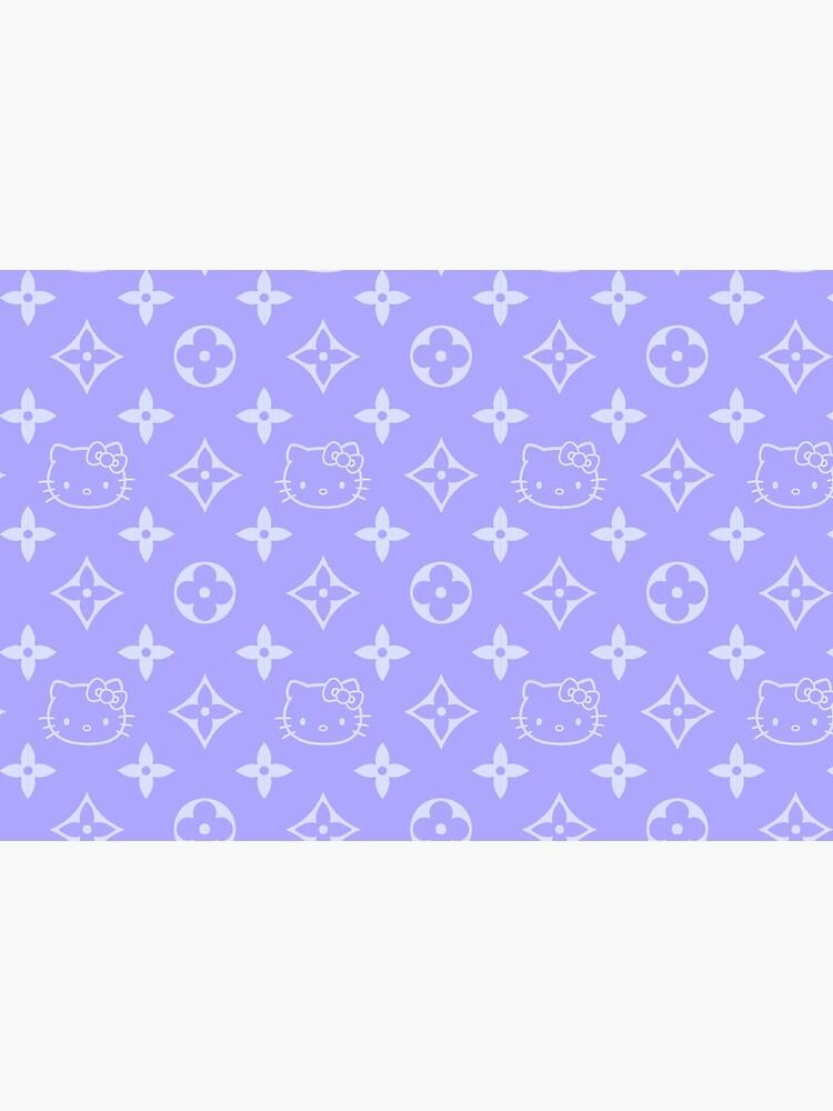 Light purple and blue Y2K kitty designer print by lunar0000