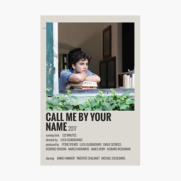 Call Me By Your Name Movie Poster Photographic Print