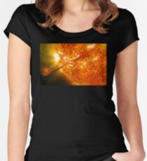 The Sun, Solar Prominince detail, solar flare, space Women's Fitted Scoop T-Shirt