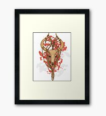 colorful image of animal skull with horns in graphic style decorated with ropes Framed Print