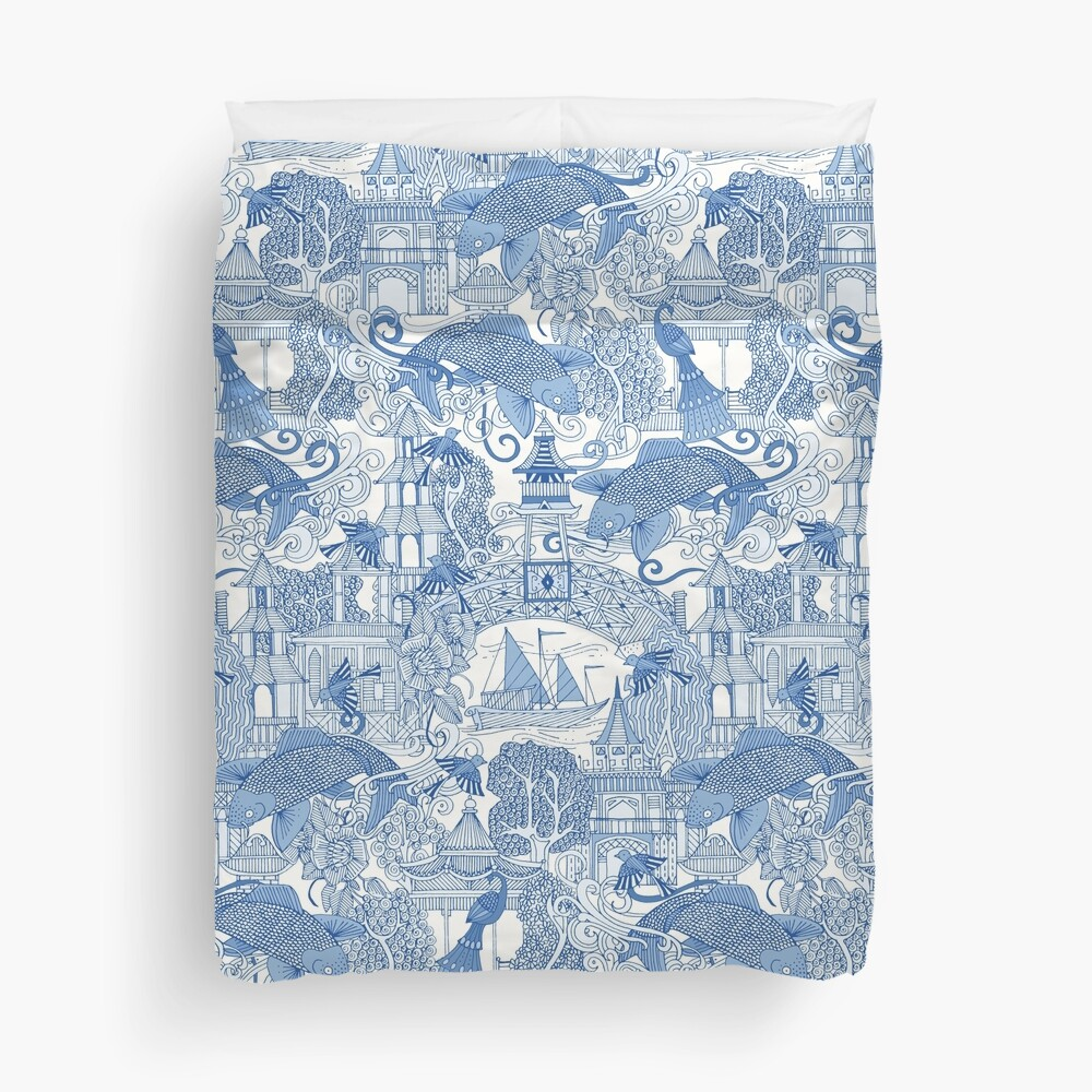 chinoiserie toile blue Duvet Cover